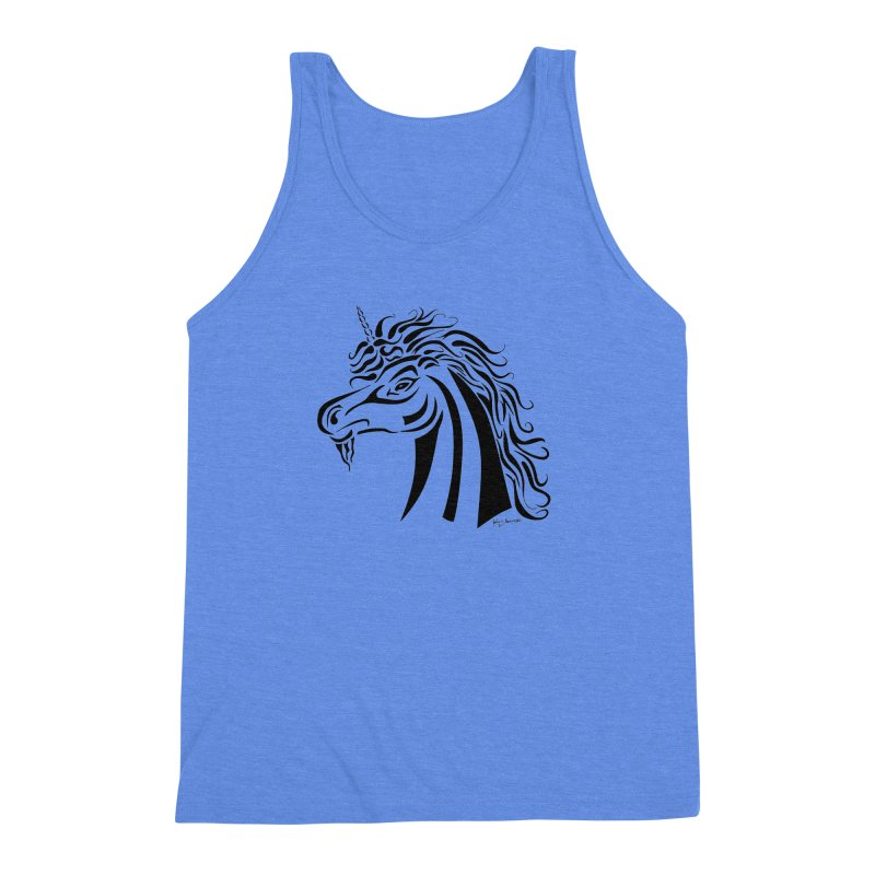 Unicorn Tribal Men's Triblend Tank by Magickal Vision: The Art of Jolie E. Bonnette