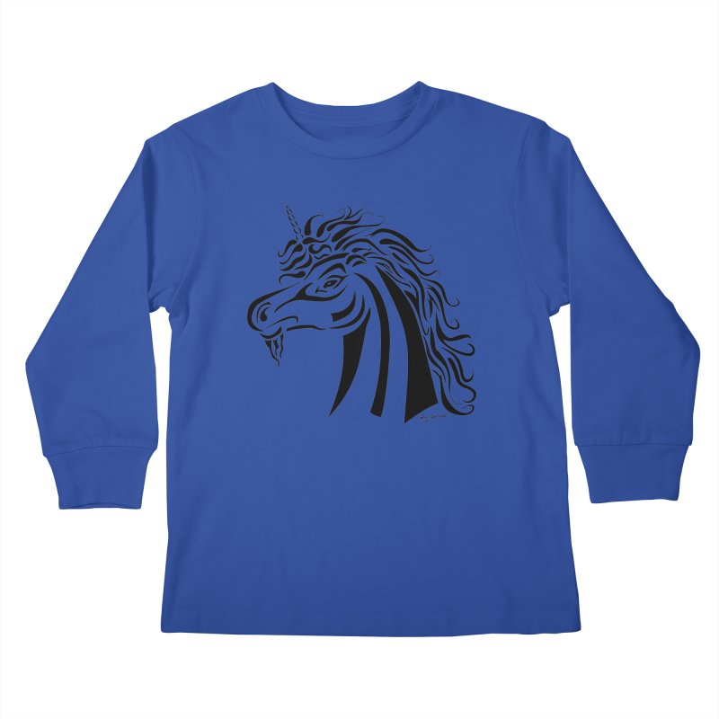 Unicorn Tribal Kids Longsleeve T-Shirt by Magickal Vision: The Art of Jolie E. Bonnette