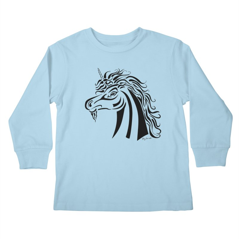 Unicorn Tribal Kids Longsleeve T-Shirt by Magickal Vision: The Art of Jolie E. Bonnette