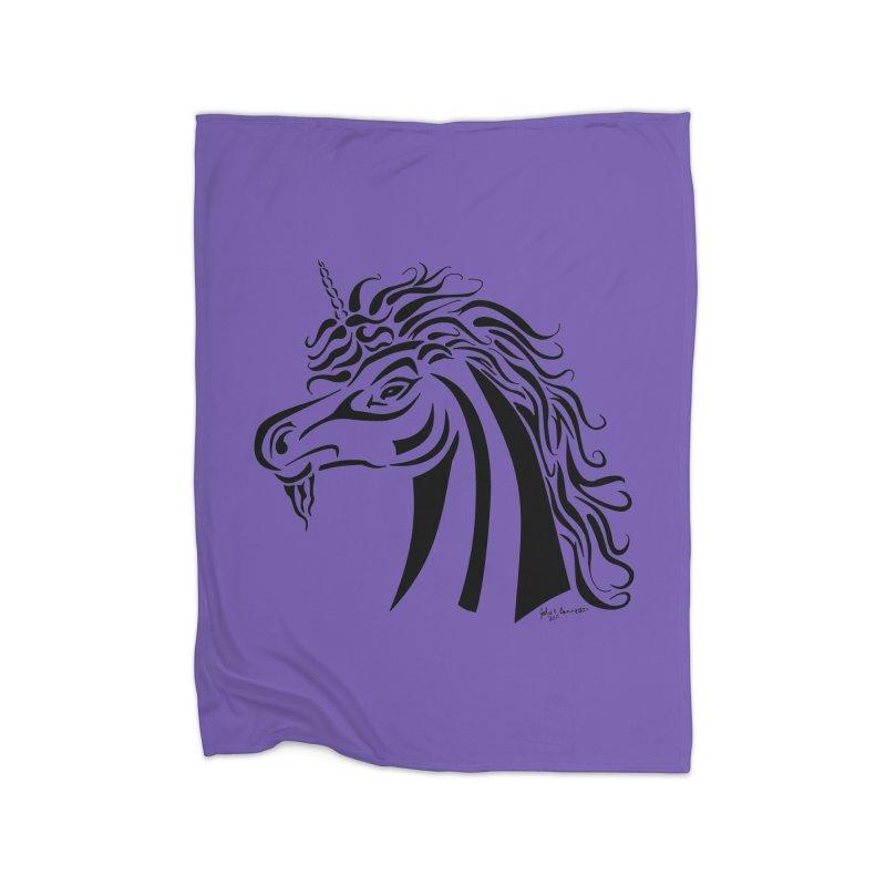 Unicorn Tribal Home Blanket by Magickal Vision: The Art of Jolie E. Bonnette