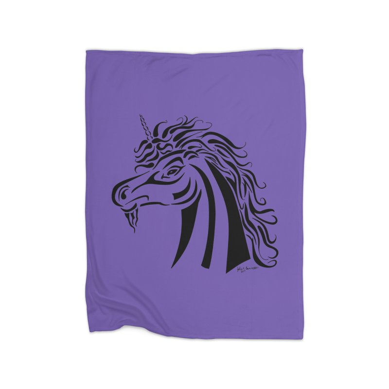 Unicorn Tribal Home Blanket by Magickal Vision: The Art of Jolie E. Bonnette