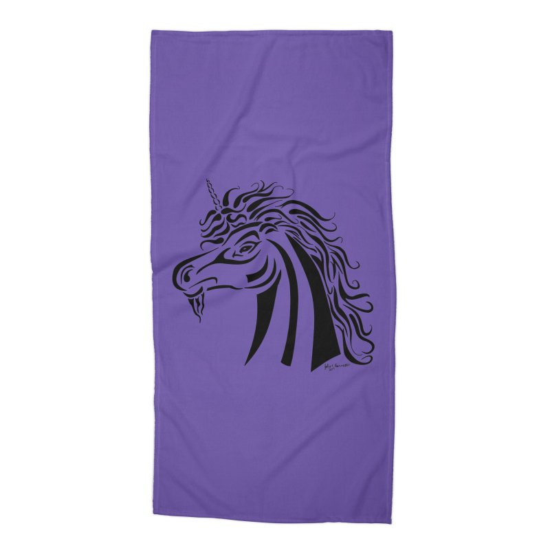 Unicorn Tribal Accessories Beach Towel by Magickal Vision: The Art of Jolie E. Bonnette
