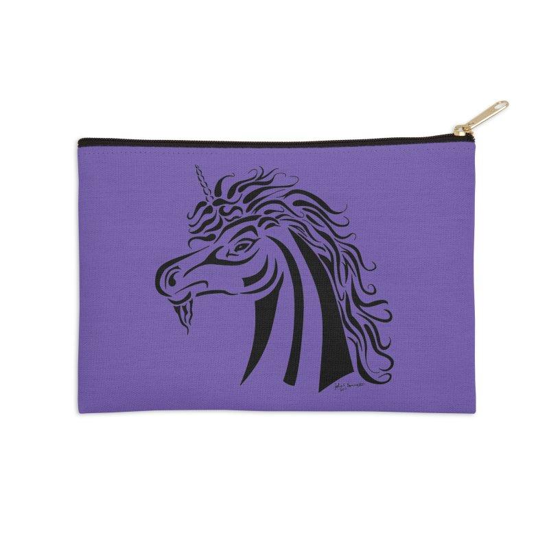 Unicorn Tribal Accessories Zip Pouch by Magickal Vision: The Art of Jolie E. Bonnette
