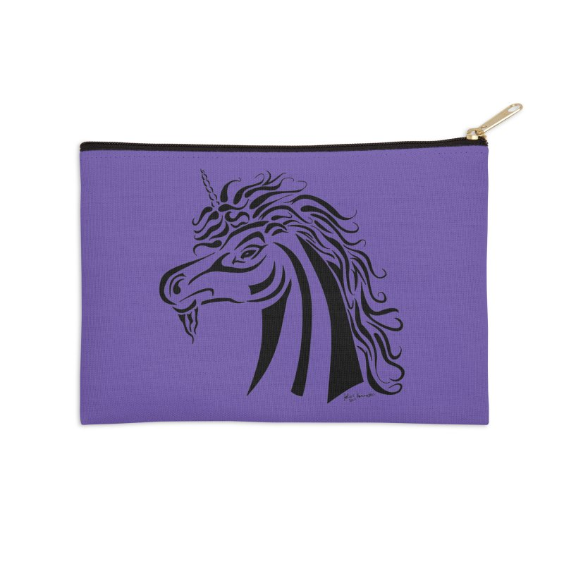 Unicorn Tribal Accessories Zip Pouch by Magickal Vision: The Art of Jolie E. Bonnette