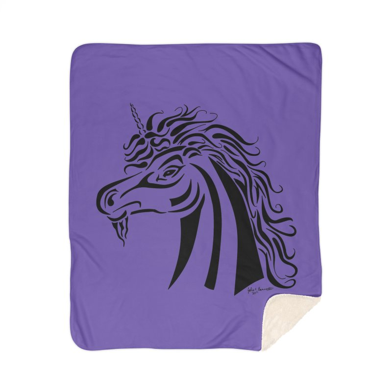 Unicorn Tribal Home Sherpa Blanket Blanket by Magickal Vision: The Art of Jolie E. Bonnette