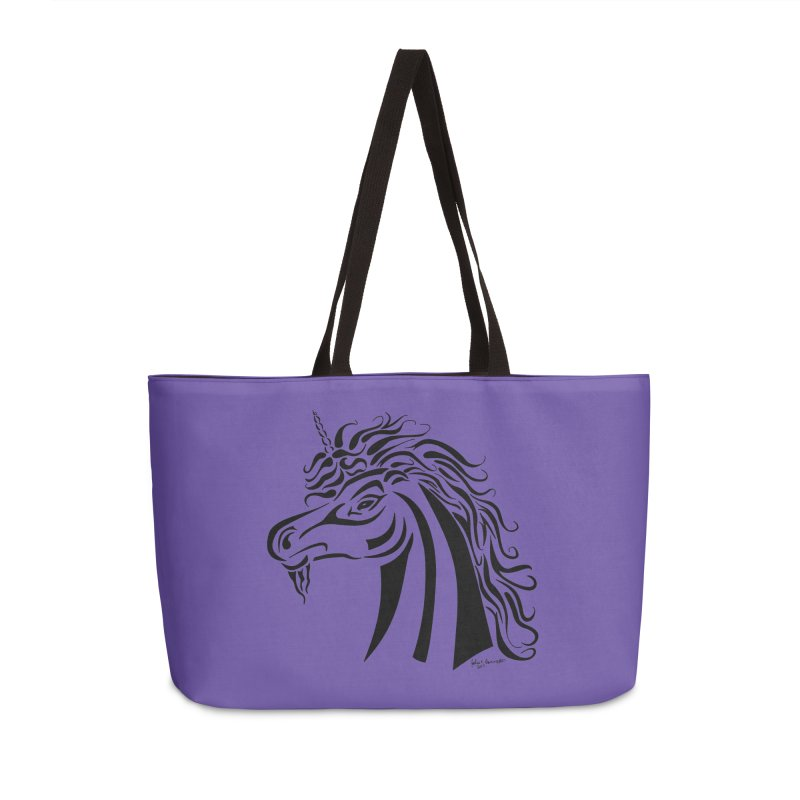 Unicorn Tribal Accessories Weekender Bag Bag by Magickal Vision: The Art of Jolie E. Bonnette