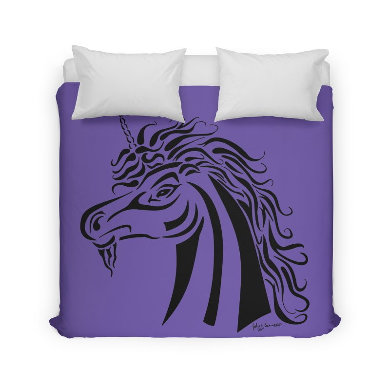 Unicorn Tribal Home Duvet by Magickal Vision: The Art of Jolie E. Bonnette