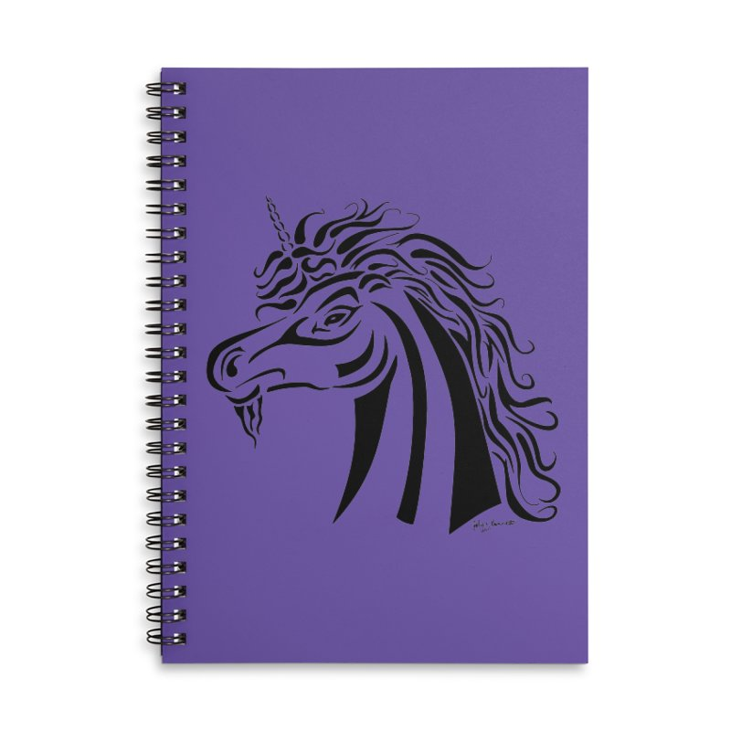 Unicorn Tribal Accessories Lined Spiral Notebook by Magickal Vision: The Art of Jolie E. Bonnette