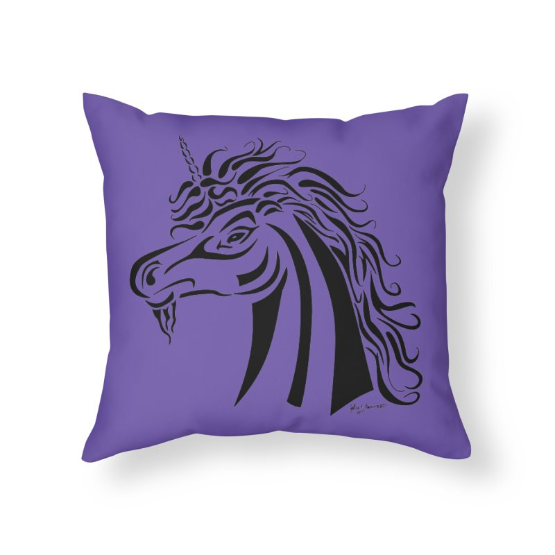 Unicorn Tribal Home Throw Pillow by Magickal Vision: The Art of Jolie E. Bonnette