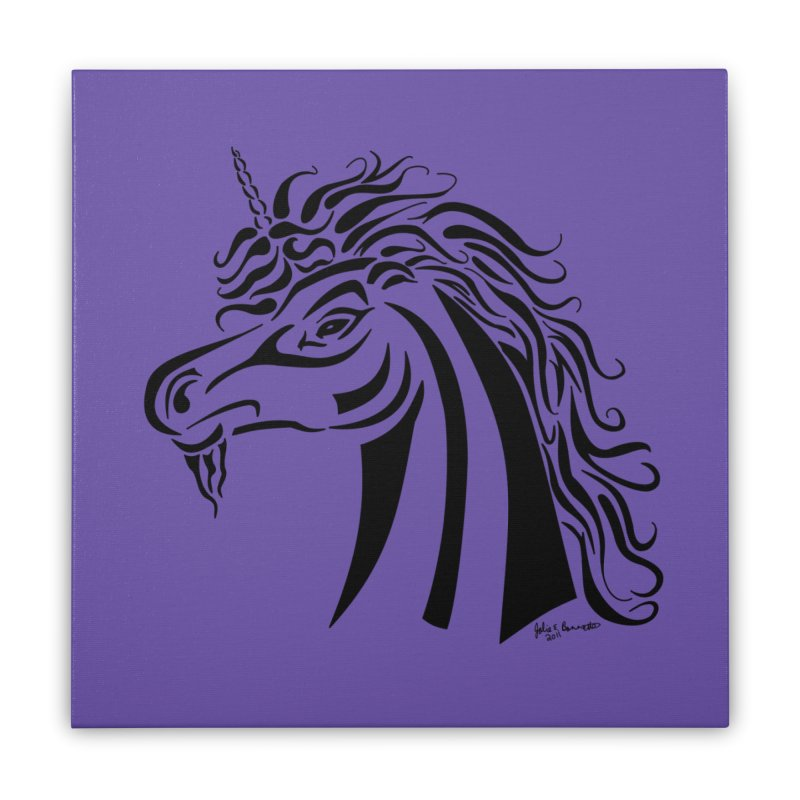 Unicorn Tribal Home Stretched Canvas by Magickal Vision: The Art of Jolie E. Bonnette