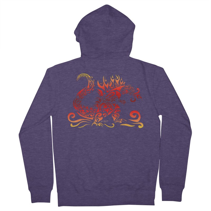 Trybe-Zilla Fire Men's French Terry Zip-Up Hoody by Magickal Vision: The Art of Jolie E. Bonnette