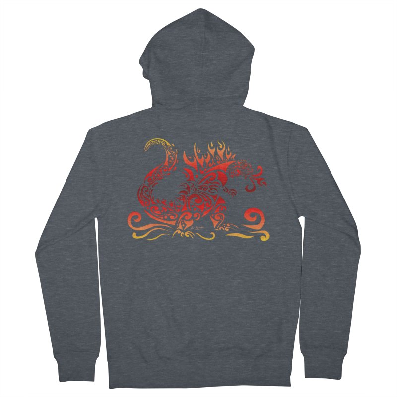 Trybe-Zilla Fire Men's Zip-Up Hoody by Magickal Vision: The Art of Jolie E. Bonnette