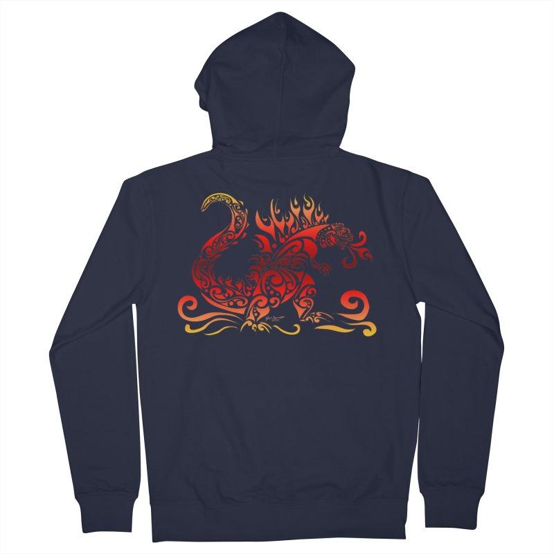 Trybe-Zilla Fire Men's Zip-Up Hoody by Magickal Vision: The Art of Jolie E. Bonnette