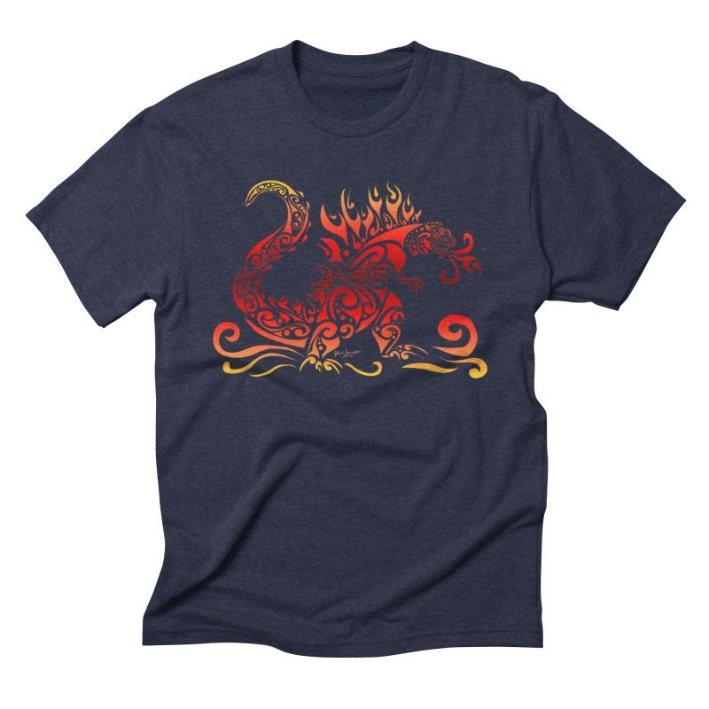 Trybe-Zilla Fire Men's Triblend T-Shirt by Magickal Vision: The Art of Jolie E. Bonnette