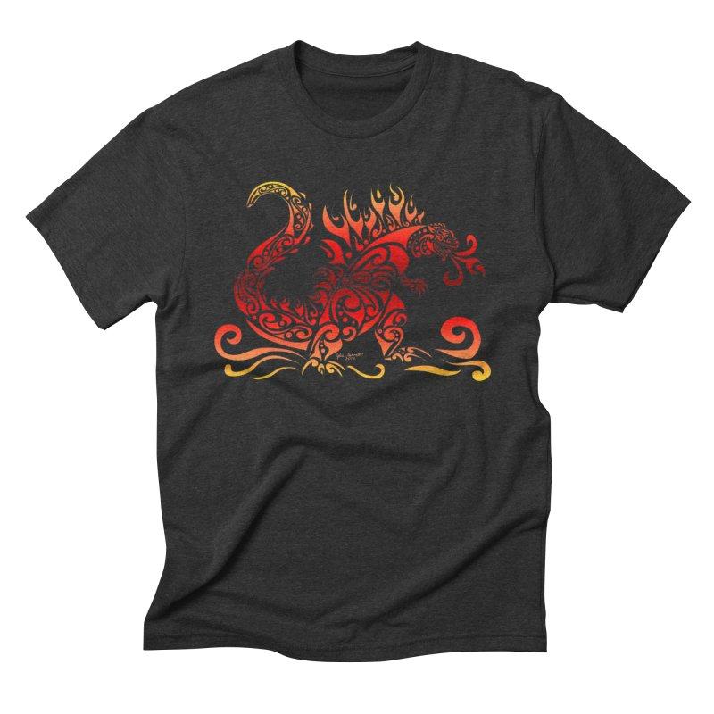 Trybe-Zilla Fire Men's Triblend T-Shirt by Magickal Vision: The Art of Jolie E. Bonnette