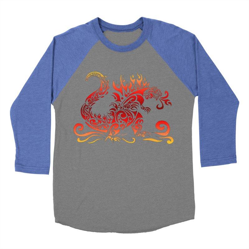 Trybe-Zilla Fire Women's Baseball Triblend Longsleeve T-Shirt by Magickal Vision: The Art of Jolie E. Bonnette