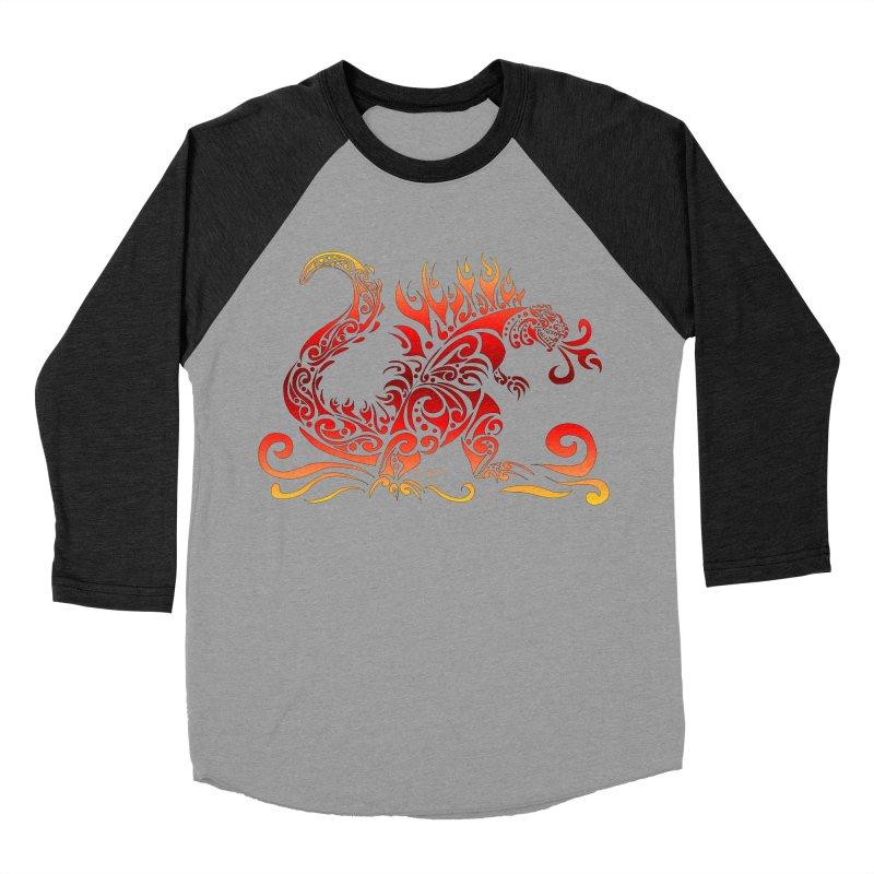Trybe-Zilla Fire Men's Baseball Triblend Longsleeve T-Shirt by Magickal Vision: The Art of Jolie E. Bonnette