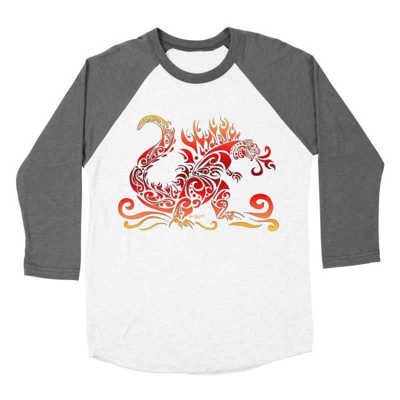 Trybe-Zilla Fire Men's Baseball Triblend T-Shirt by Magickal Vision: The Art of Jolie E. Bonnette