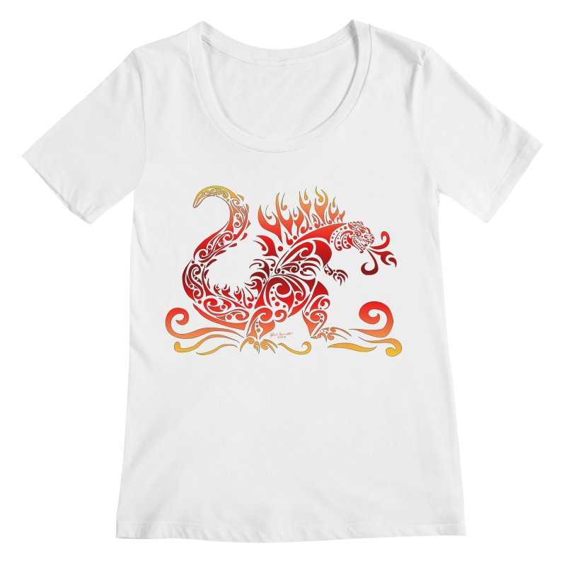 Trybe-Zilla Fire Women's Scoopneck by Magickal Vision: The Art of Jolie E. Bonnette