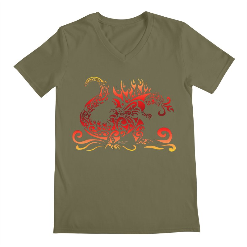 Trybe-Zilla Fire Men's V-Neck by Magickal Vision: The Art of Jolie E. Bonnette
