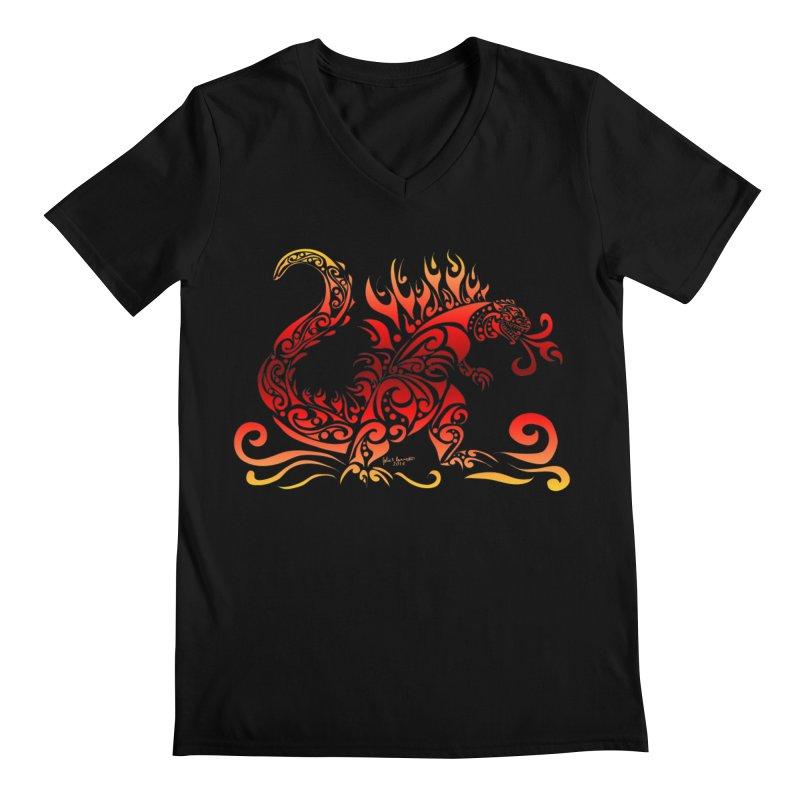 Trybe-Zilla Fire Men's V-Neck by Magickal Vision: The Art of Jolie E. Bonnette