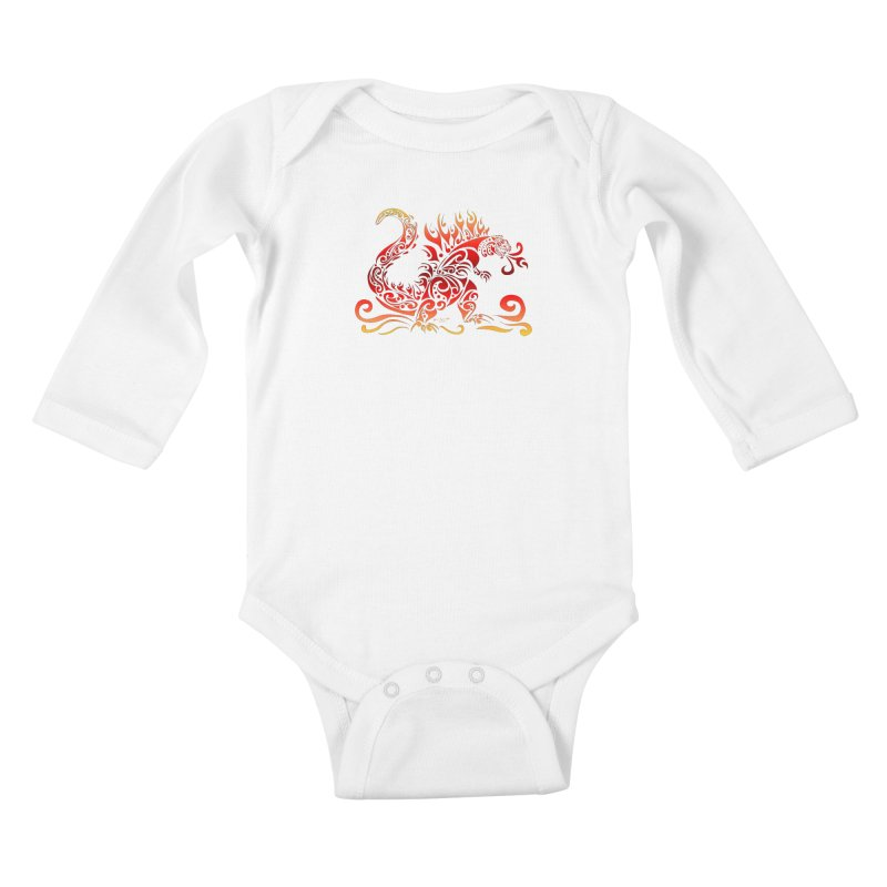 Trybe-Zilla Fire Kids Baby Longsleeve Bodysuit by Magickal Vision: The Art of Jolie E. Bonnette