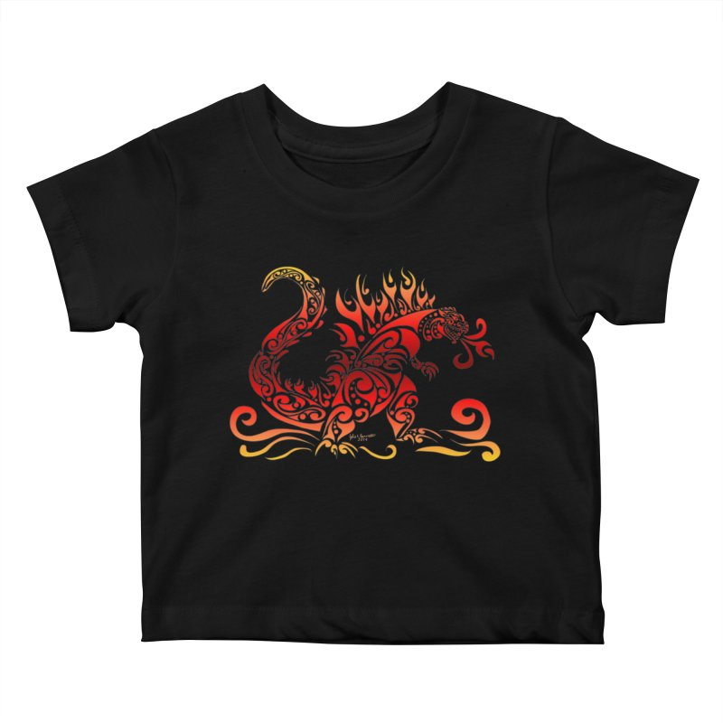 Trybe-Zilla Fire Kids Baby T-Shirt by Magickal Vision: The Art of Jolie E. Bonnette
