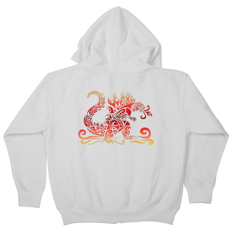 Trybe-Zilla Fire Kids Zip-Up Hoody by Magickal Vision: The Art of Jolie E. Bonnette