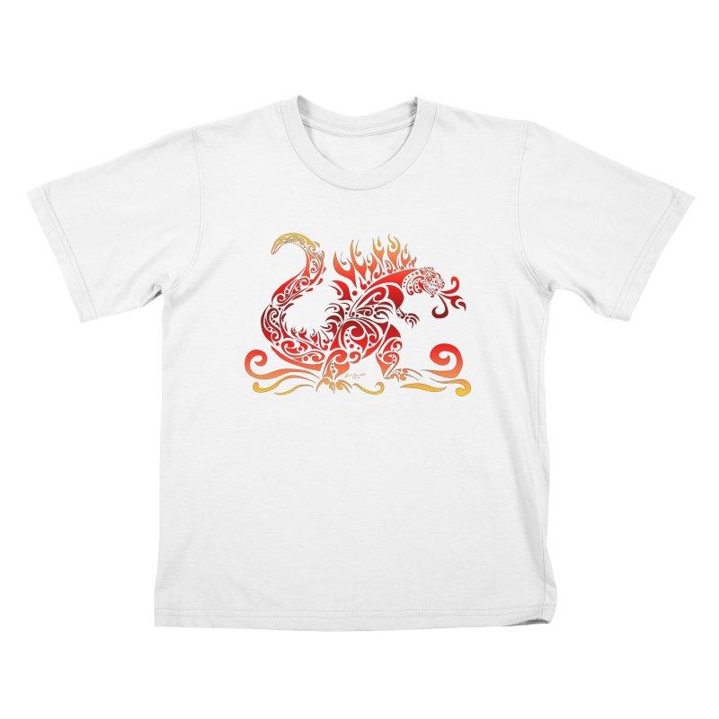 Trybe-Zilla Fire Kids T-Shirt by Magickal Vision: The Art of Jolie E. Bonnette