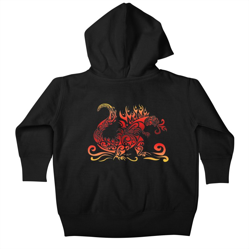Trybe-Zilla Fire Kids Baby Zip-Up Hoody by Magickal Vision: The Art of Jolie E. Bonnette