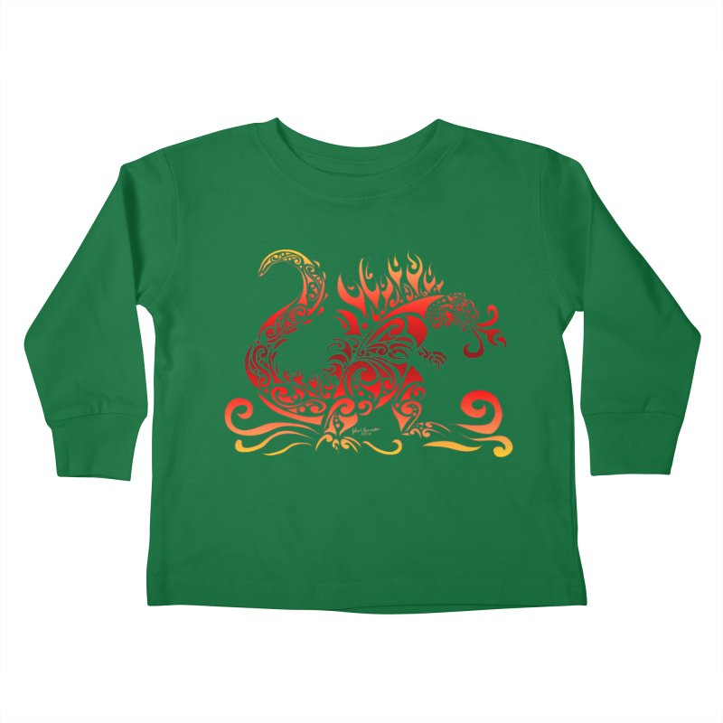 Trybe-Zilla Fire Kids Toddler Longsleeve T-Shirt by Magickal Vision: The Art of Jolie E. Bonnette