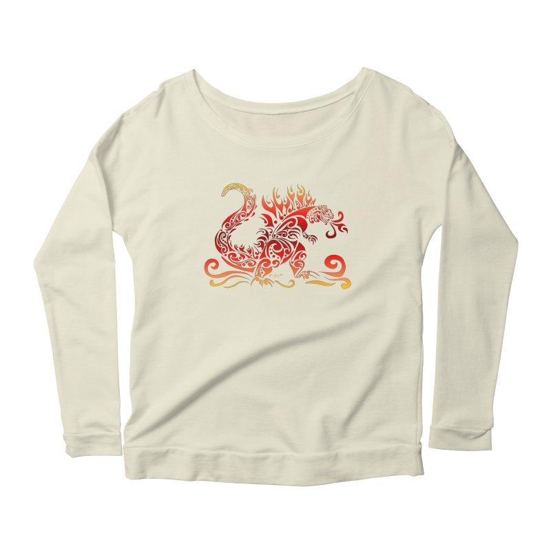 Trybe-Zilla Fire Women's Scoop Neck Longsleeve T-Shirt by Magickal Vision: The Art of Jolie E. Bonnette