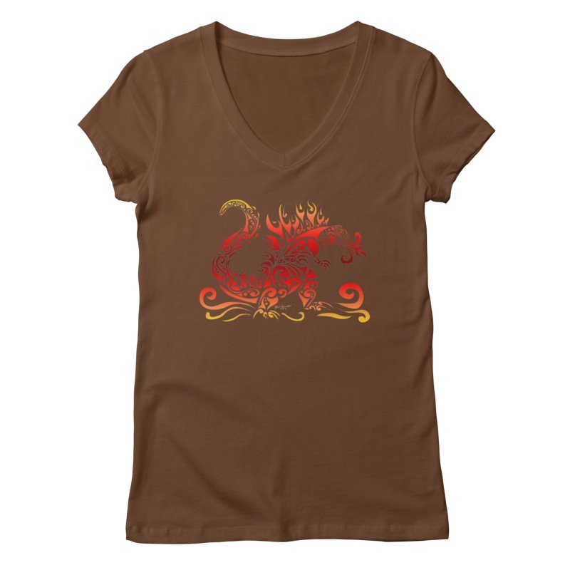 Trybe-Zilla Fire Women's V-Neck by Magickal Vision: The Art of Jolie E. Bonnette