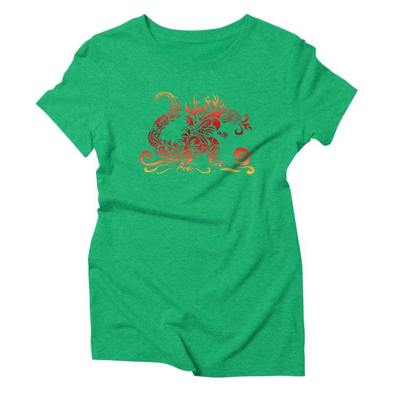 Trybe-Zilla Fire Women's Triblend T-Shirt by Magickal Vision: The Art of Jolie E. Bonnette