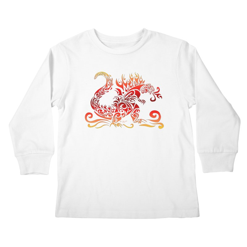 Trybe-Zilla Fire Kids Longsleeve T-Shirt by Magickal Vision: The Art of Jolie E. Bonnette