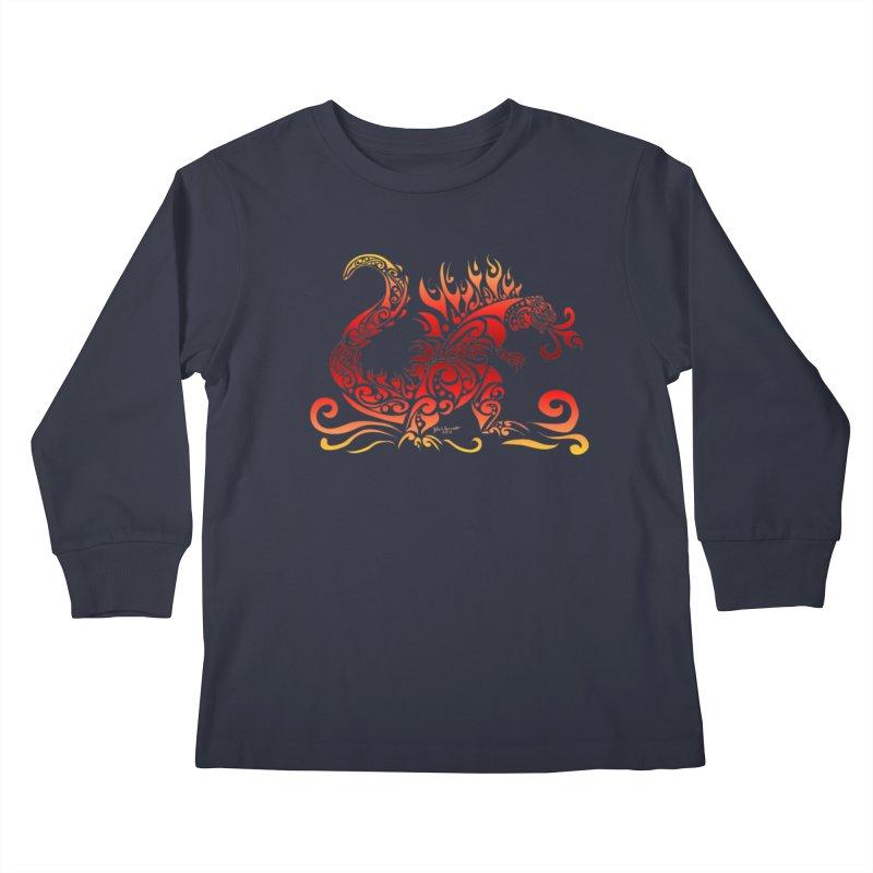 Trybe-Zilla Fire Kids Longsleeve T-Shirt by Magickal Vision: The Art of Jolie E. Bonnette