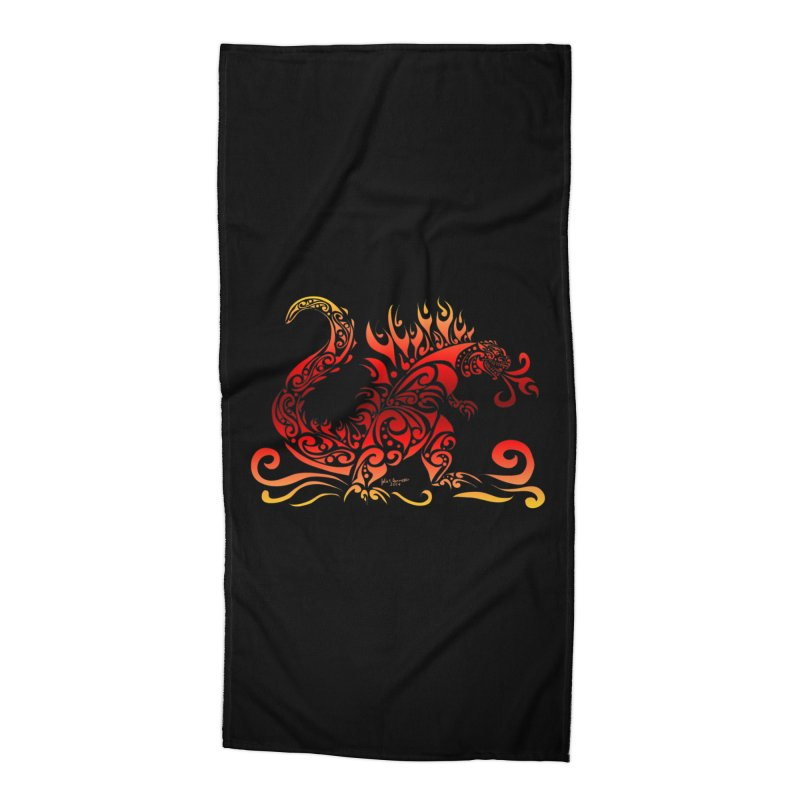 Trybe-Zilla Fire Accessories Beach Towel by Magickal Vision: The Art of Jolie E. Bonnette