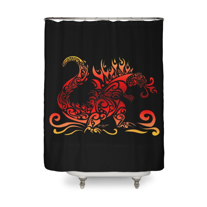 Trybe-Zilla Fire Home Shower Curtain by Magickal Vision: The Art of Jolie E. Bonnette