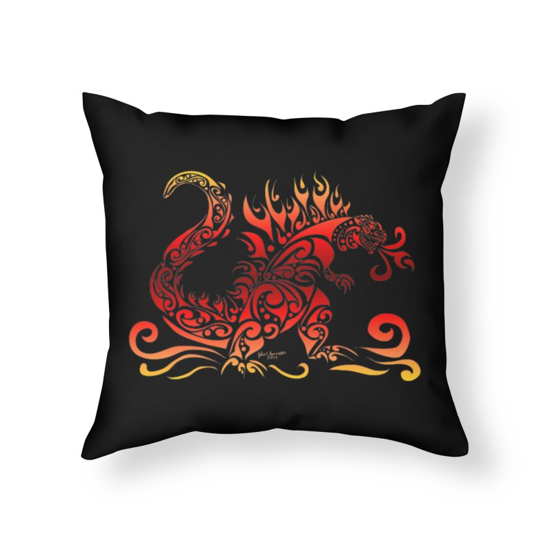 Trybe-Zilla Fire Home Throw Pillow by Magickal Vision: The Art of Jolie E. Bonnette