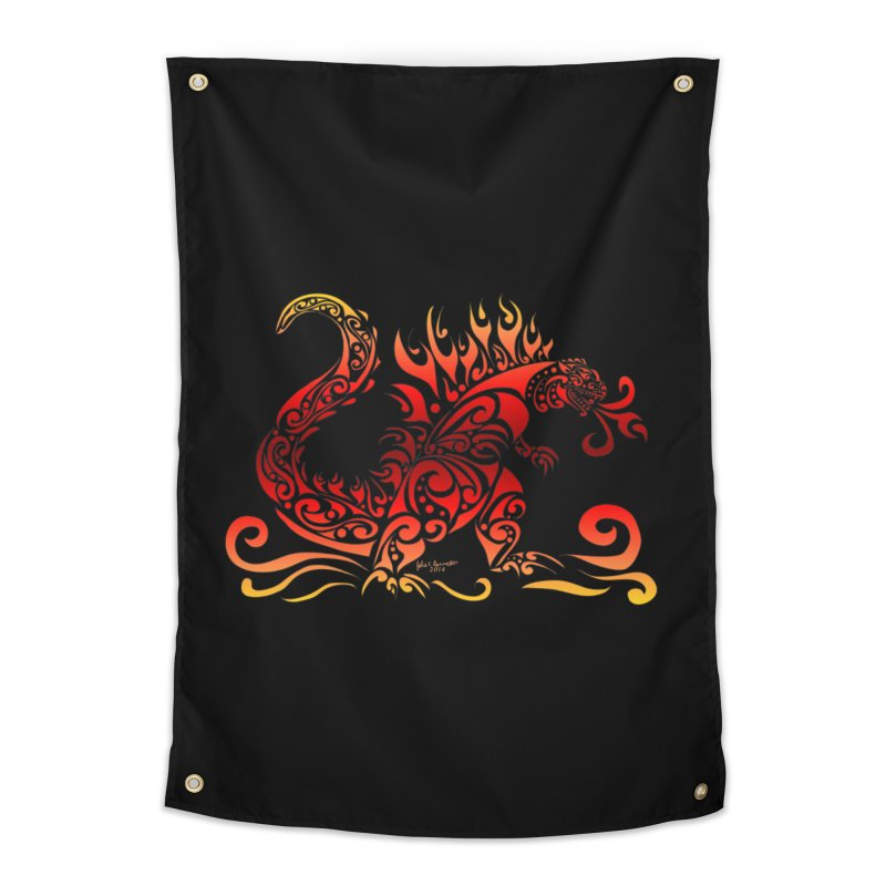 Trybe-Zilla Fire Home Tapestry by Magickal Vision: The Art of Jolie E. Bonnette