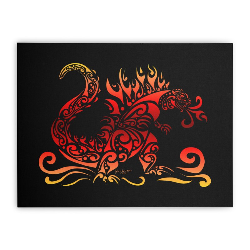 Trybe-Zilla Fire Home Stretched Canvas by Magickal Vision: The Art of Jolie E. Bonnette