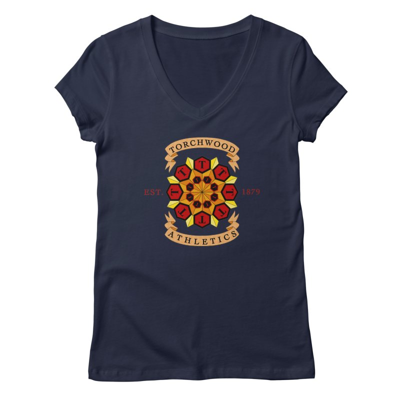 Torchwood Athletics Women's Regular V-Neck by Magickal Vision: The Art of Jolie E. Bonnette