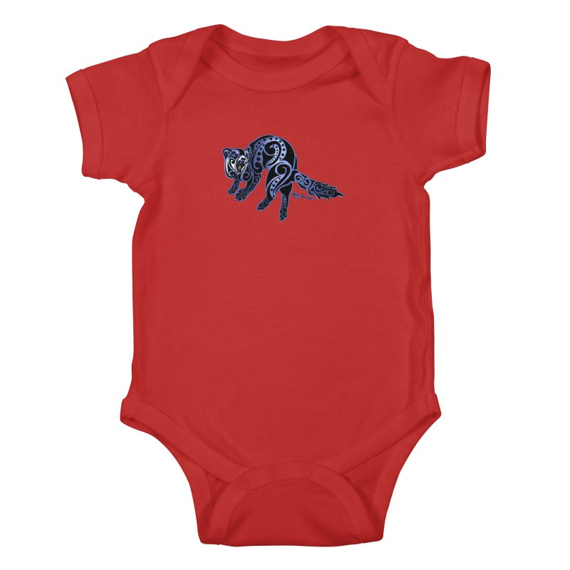 Ferret Trybe: War Dance! Kids Baby Bodysuit by Magickal Vision: The Art of Jolie E. Bonnette