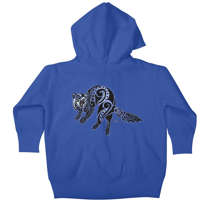 Ferret Trybe: War Dance! Kids Baby Zip-Up Hoody by Magickal Vision: The Art of Jolie E. Bonnette