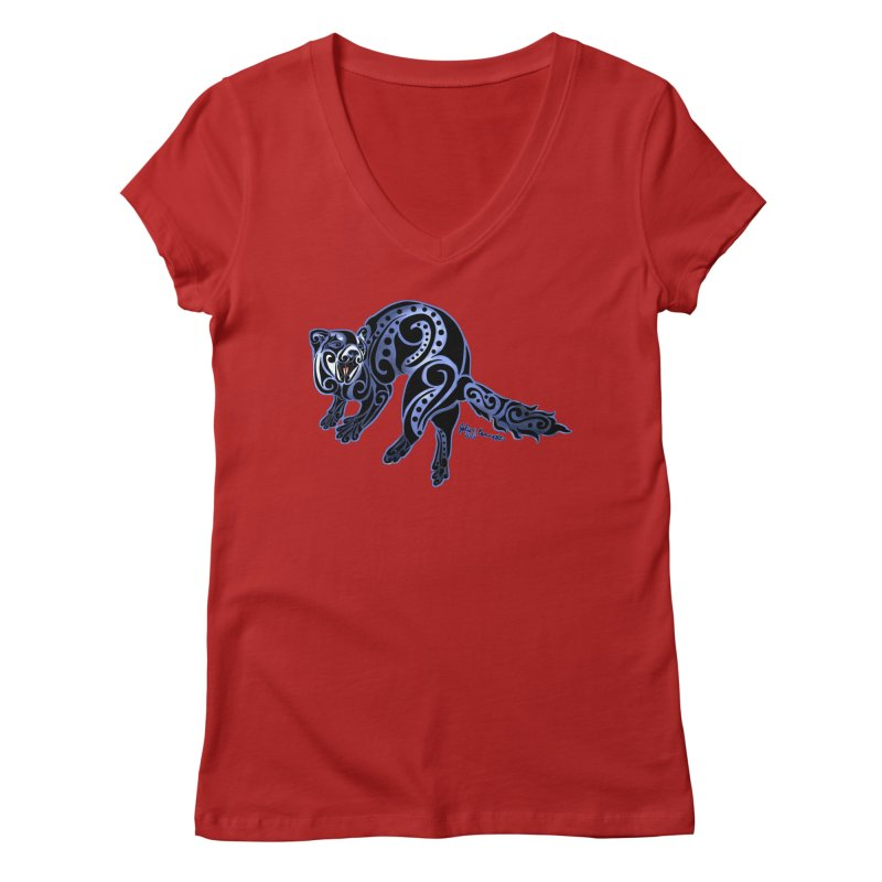 Ferret Trybe: War Dance! Women's V-Neck by Magickal Vision: The Art of Jolie E. Bonnette