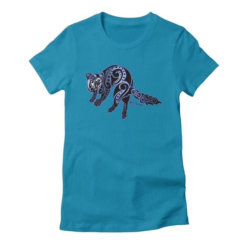 Ferret Trybe: War Dance! Women's Fitted T-Shirt by Magickal Vision: The Art of Jolie E. Bonnette