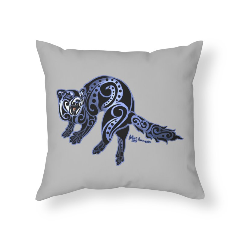 Ferret Trybe: War Dance! Home Throw Pillow by Magickal Vision: The Art of Jolie E. Bonnette