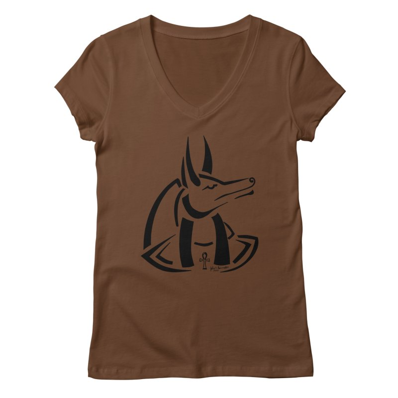 Anubis Women's V-Neck by Magickal Vision: The Art of Jolie E. Bonnette