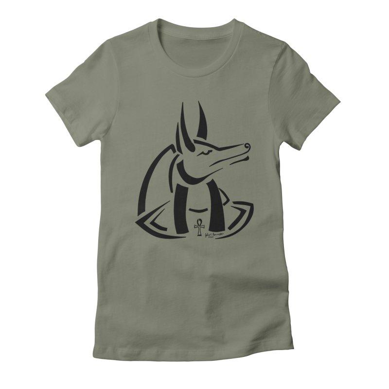 Anubis Women's Fitted T-Shirt by Magickal Vision: The Art of Jolie E. Bonnette