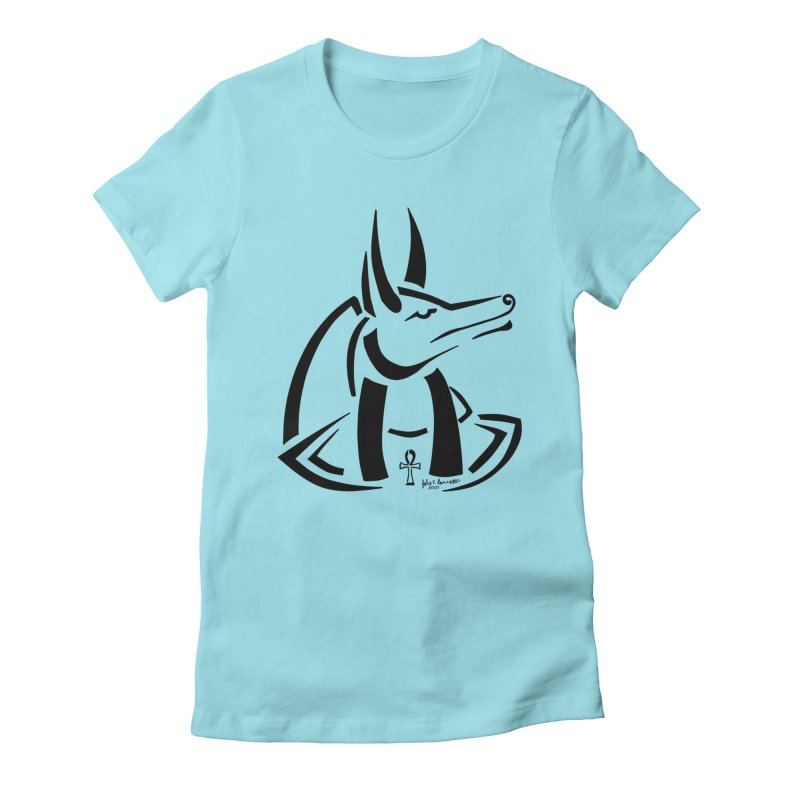 Anubis Women's Fitted T-Shirt by Magickal Vision: The Art of Jolie E. Bonnette